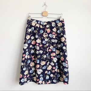 Vintage Floral Midi Skirt Navy Button Up XL 14